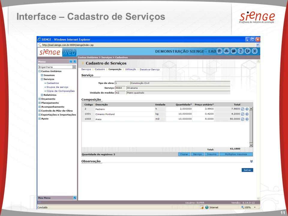 Interface – Cadastro de Serviços 11