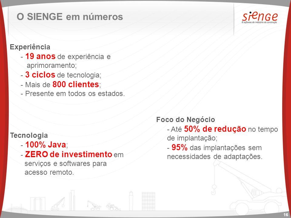 O SIENGE em números Experiência - 19 anos de experiência e aprimoramento; - 3 ciclos de tecnologia; - Mais de 800 clientes ; - Presente em todos os estados.