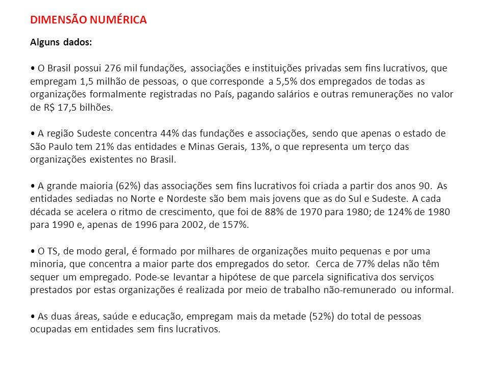 DIMENSÃO NUMÉRICA Alguns dados: O Brasil possui 276 mil fundações, associações e instituições privadas sem fins lucrativos, que empregam 1,5 milhão de