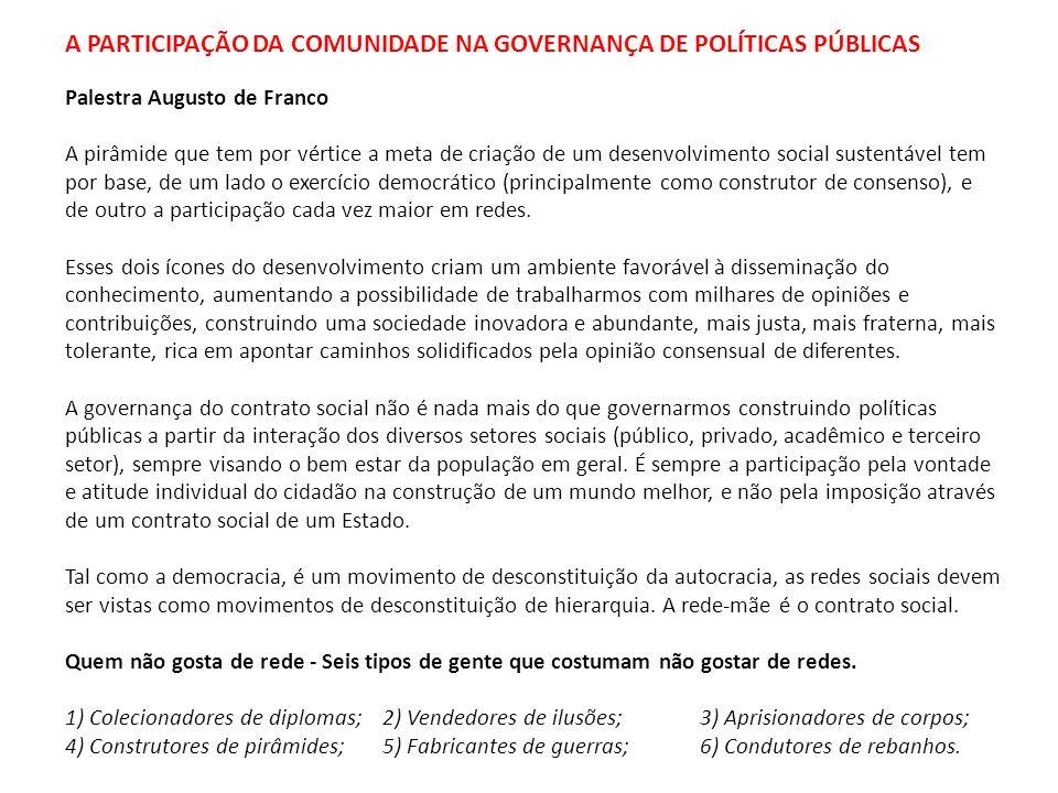 A PARTICIPAÇÃO DA COMUNIDADE NA GOVERNANÇA DE POLÍTICAS PÚBLICAS Palestra Augusto de Franco A pirâmide que tem por vértice a meta de criação de um des