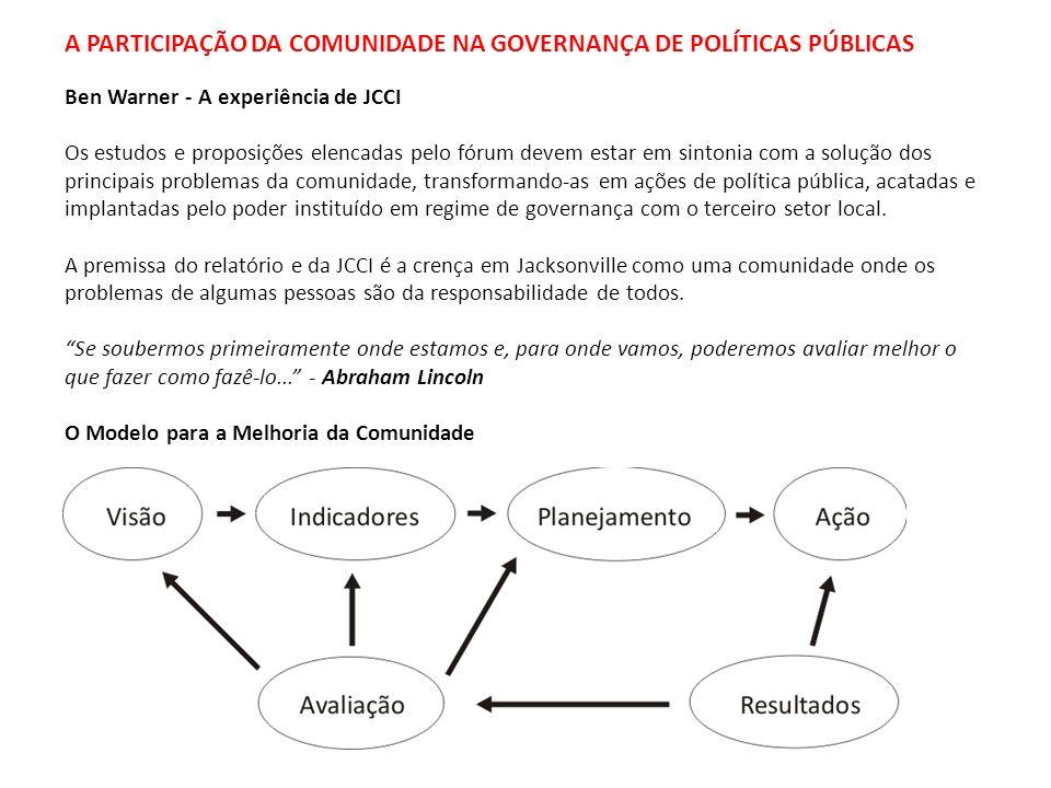 A PARTICIPAÇÃO DA COMUNIDADE NA GOVERNANÇA DE POLÍTICAS PÚBLICAS Ben Warner - A experiência de JCCI Os estudos e proposições elencadas pelo fórum deve