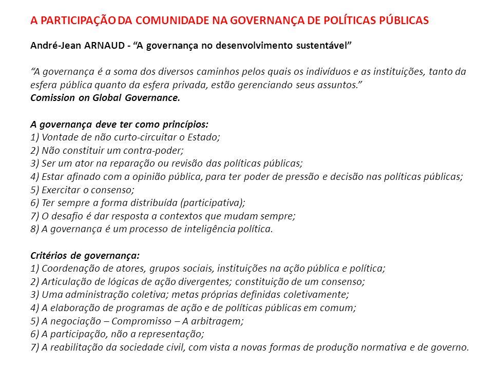 A PARTICIPAÇÃO DA COMUNIDADE NA GOVERNANÇA DE POLÍTICAS PÚBLICAS André-Jean ARNAUD - A governança no desenvolvimento sustentável A governança é a soma