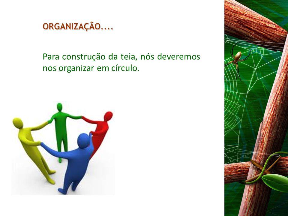 Para construção da teia, nós deveremos nos organizar em círculo. ORGANIZAÇÃO....