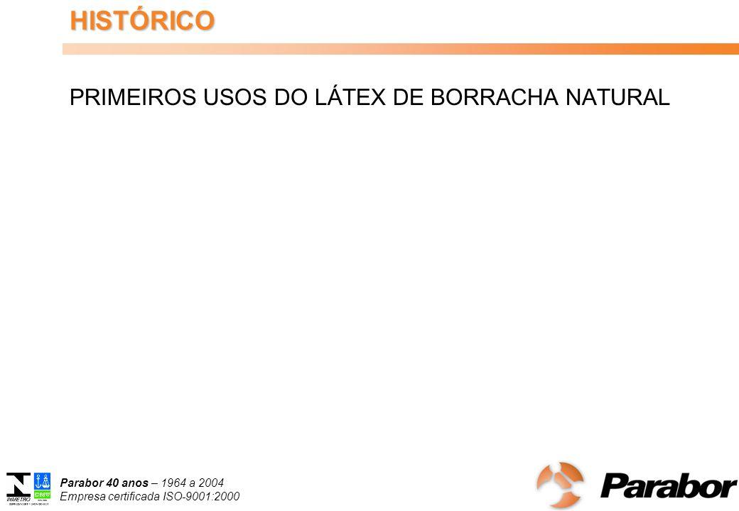 Parabor 40 anos – 1964 a 2004 Empresa certificada ISO-9001:2000 USOS E APLICAÇÕES DO LÁTEX CENTRIFUGADO PASSADO, PRESENTE E FUTURO CONGRESSO BRASILEIRO DE HEVEICULTURA GUARAPARI – ESPÍRITO SANTO 18 a 21/09/2007