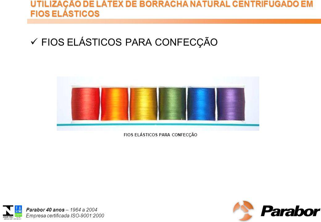 Parabor 40 anos – 1964 a 2004 Empresa certificada ISO-9001:2000 UTILIZAÇÃO DE LÁTEX DE BORRACHA NATURAL CENTRIFUGADO EM FIOS ELÁSTICOS FIOS ELÁSTICOS PARA CONFECÇÃO