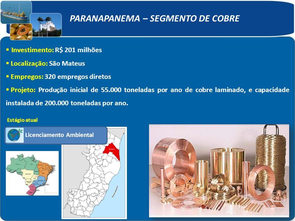PARANAPANEMA – SEGMENTO DE COBRE Investimento: R$ 201 milhões Localização: São Mateus Empregos: 320 empregos diretos Projeto: Produção inicial de 55.000 toneladas por ano de cobre laminado, e capacidade instalada de 200.000 toneladas por ano.