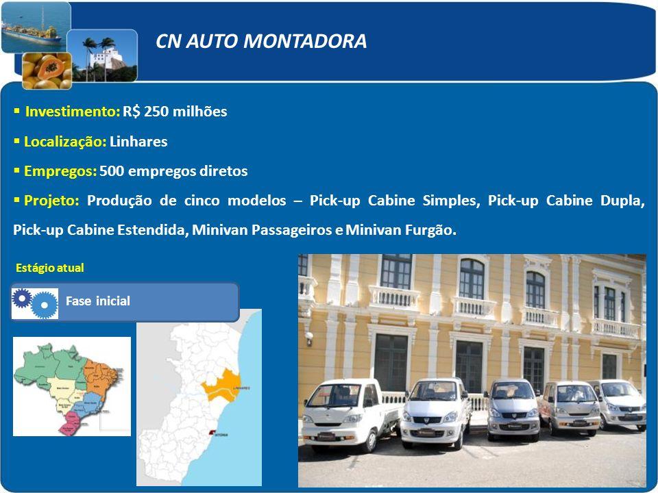 CN AUTO MONTADORA Investimento: R$ 250 milhões Localização: Linhares Empregos: 500 empregos diretos Projeto: Produção de cinco modelos – Pick-up Cabin