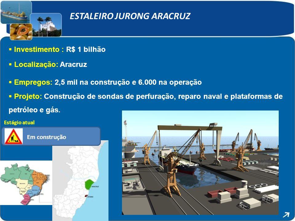 ESTALEIRO JURONG ARACRUZ Investimento : R$ 1 bilhão Localização: Aracruz Empregos: 2,5 mil na construção e 6.000 na operação Projeto: Construção de sondas de perfuração, reparo naval e plataformas de petróleo e gás.