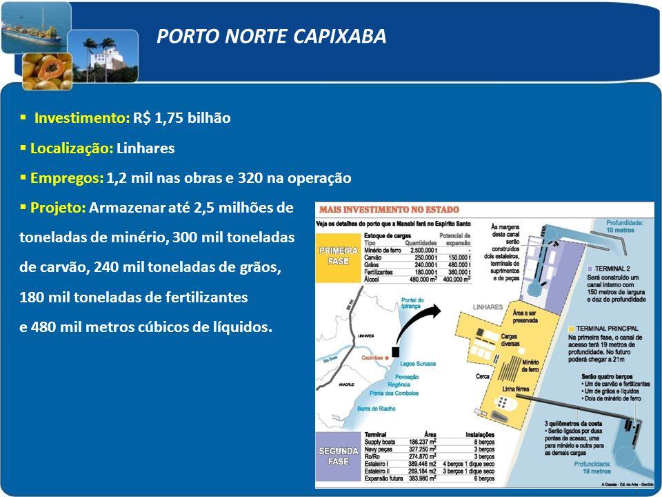 PORTO NORTE CAPIXABA Investimento: R$ 1,75 bilhão Localização: Linhares Empregos: 1,2 mil nas obras e 320 na operação Projeto: Armazenar até 2,5 milhõ