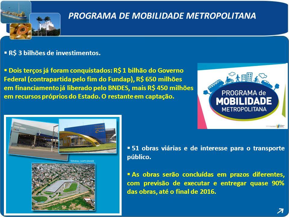 PROGRAMA DE MOBILIDADE METROPOLITANA R$ 3 bilhões de investimentos. Dois terços já foram conquistados: R$ 1 bilhão do Governo Federal (contrapartida p