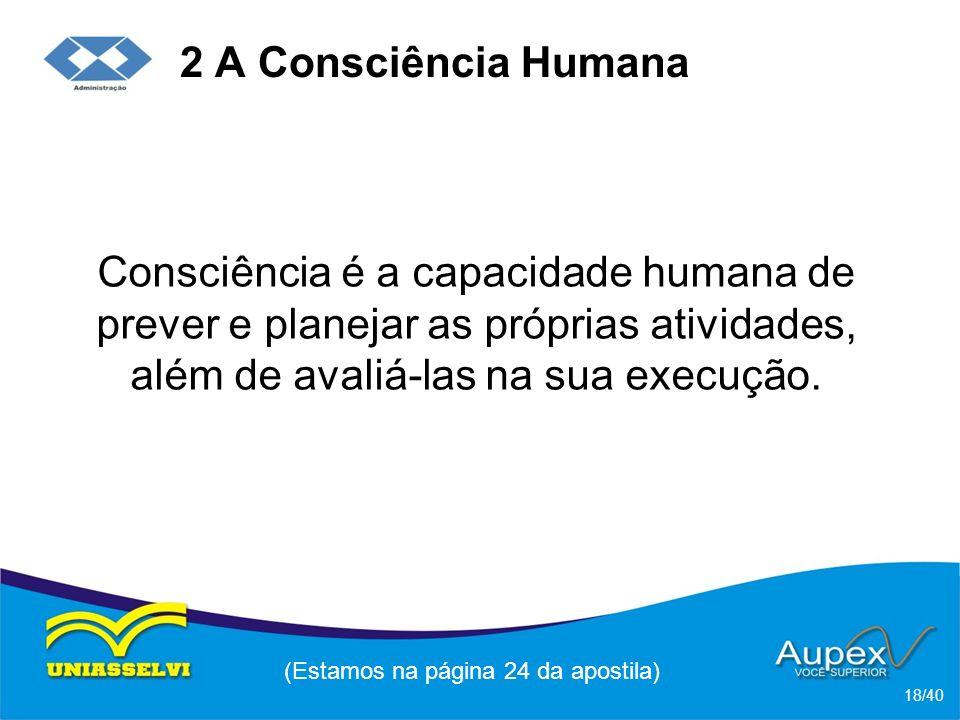 2 A Consciência Humana Consciência é a capacidade humana de prever e planejar as próprias atividades, além de avaliá-las na sua execução.