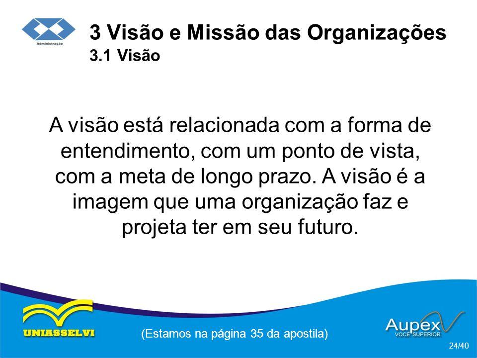 3 Visão e Missão das Organizações 3.1 Visão A visão está relacionada com a forma de entendimento, com um ponto de vista, com a meta de longo prazo.