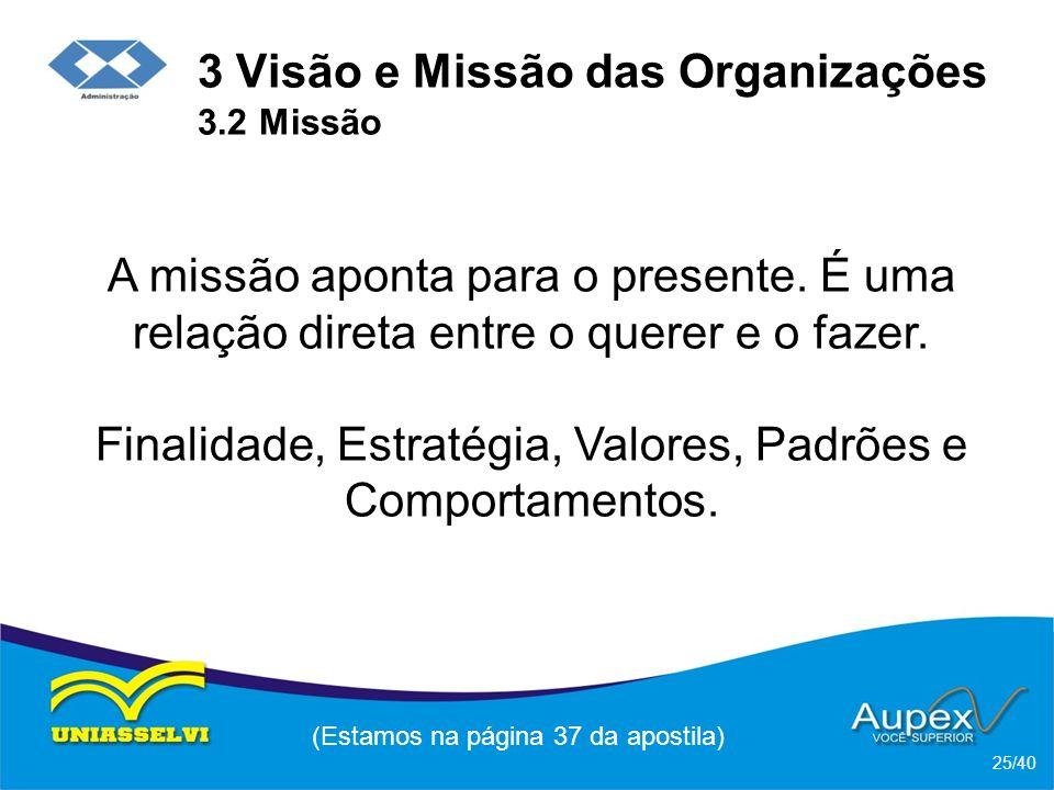 3 Visão e Missão das Organizações 3.2 Missão A missão aponta para o presente.