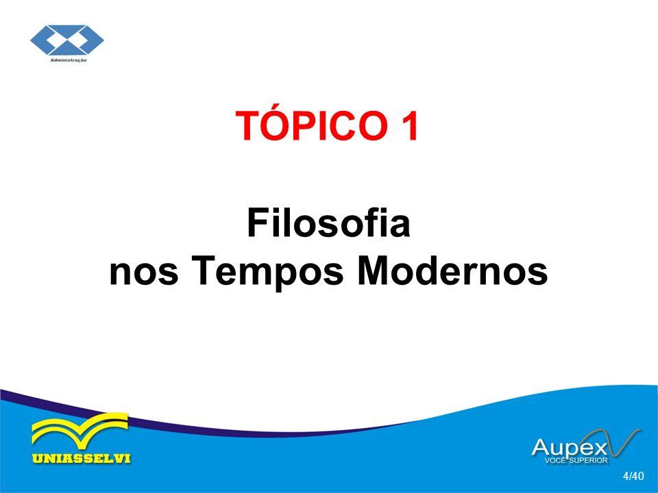 TÓPICO 1 Filosofia nos Tempos Modernos 4/40