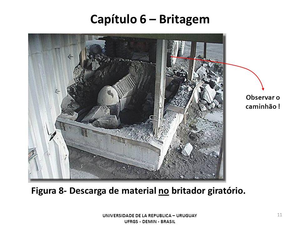Capítulo 6 – Britagem UNIVERSIDADE DE LA REPUBLICA – URUGUAY UFRGS - DEMIN - BRASIL 11 Figura 8- Descarga de material no britador giratório. Observar