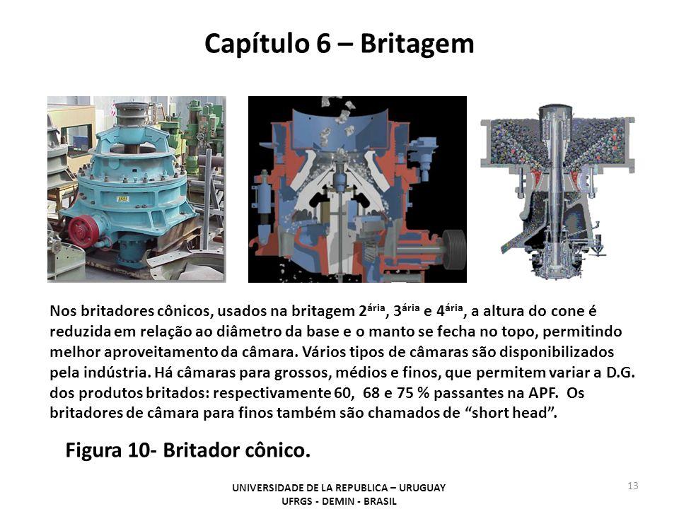 Capítulo 6 – Britagem UNIVERSIDADE DE LA REPUBLICA – URUGUAY UFRGS - DEMIN - BRASIL 13 Figura 10- Britador cônico. Nos britadores cônicos, usados na b