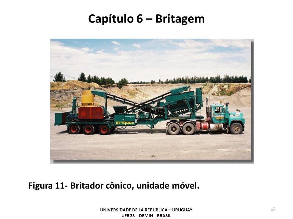 Capítulo 6 – Britagem UNIVERSIDADE DE LA REPUBLICA – URUGUAY UFRGS - DEMIN - BRASIL 14 Figura 11- Britador cônico, unidade móvel.