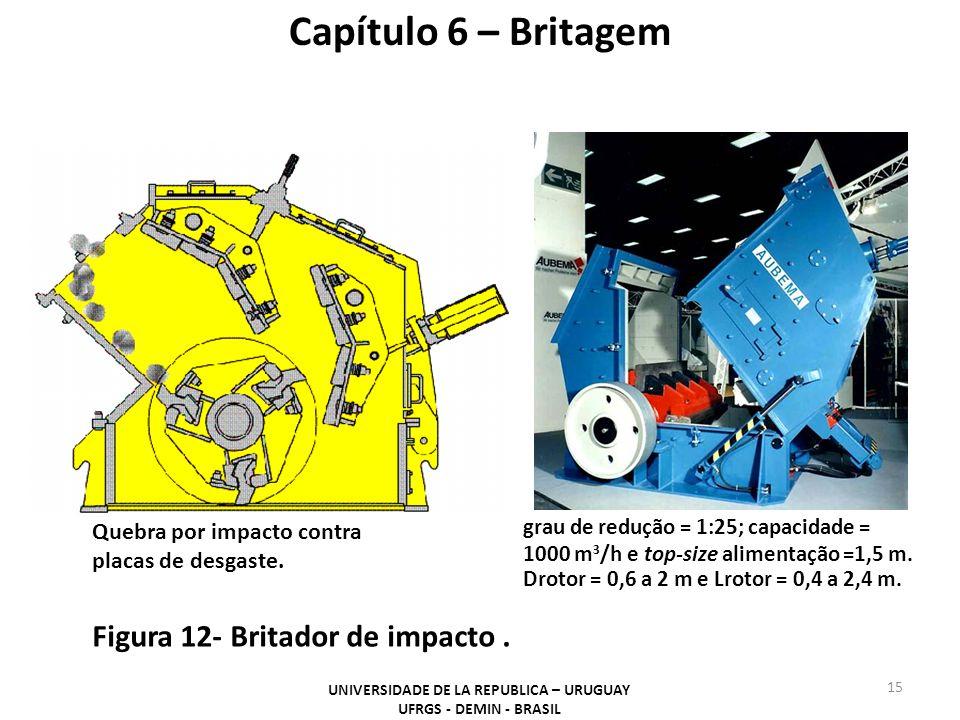 grau de redução = 1:25; capacidade = 1000 m 3 /h e top-size alimentação =1,5 m. Drotor = 0,6 a 2 m e Lrotor = 0,4 a 2,4 m. Capítulo 6 – Britagem UNIVE