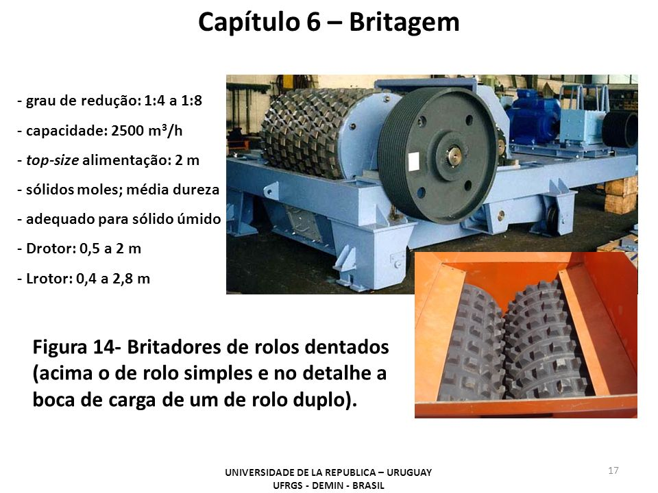 Britador de rolo dentado simples - grau de redução: 1:4 a 1:8 - capacidade: 2500 m 3 /h - top-size alimentação: 2 m - sólidos moles; média dureza - ad