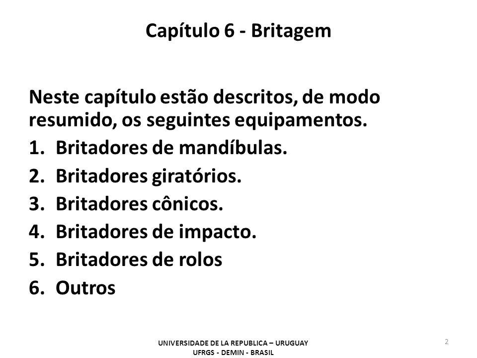 Capítulo 6 - Britagem Neste capítulo estão descritos, de modo resumido, os seguintes equipamentos. 1.Britadores de mandíbulas. 2.Britadores giratórios