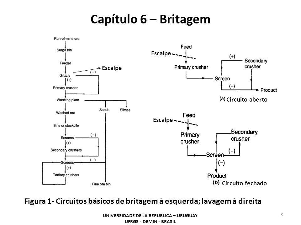 Capítulo 6 – Britagem UNIVERSIDADE DE LA REPUBLICA – URUGUAY UFRGS - DEMIN - BRASIL 3 Figura 1- Circuitos básicos de britagem à esquerda; lavagem à di