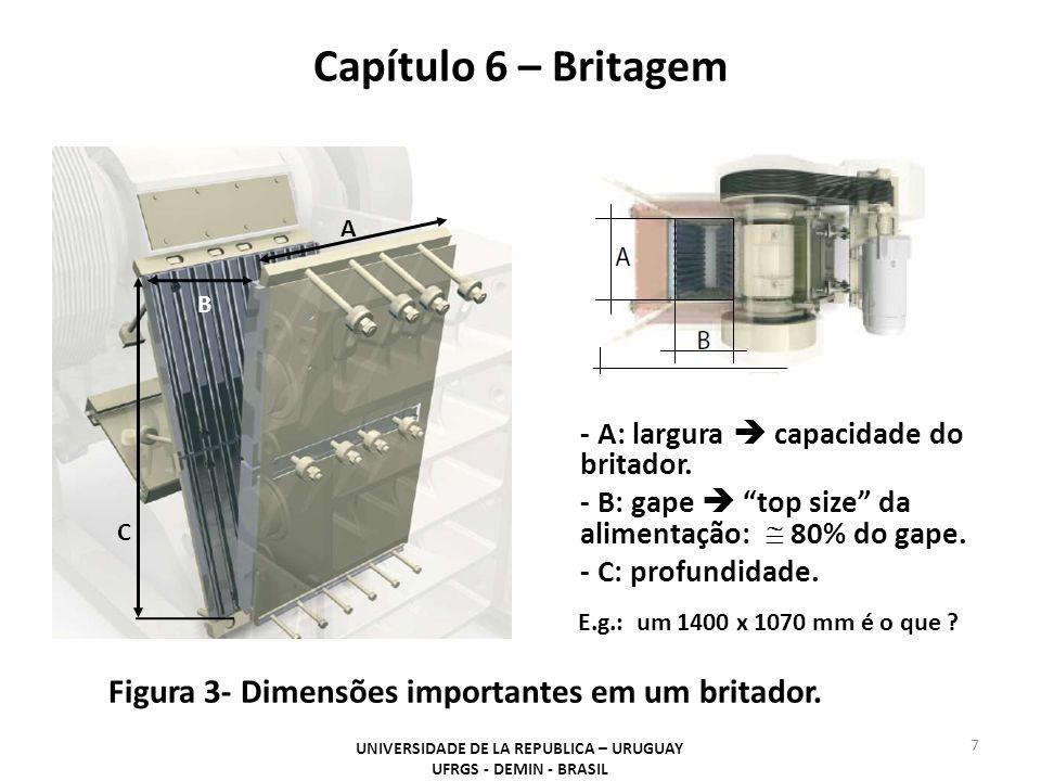 Capítulo 6 – Britagem UNIVERSIDADE DE LA REPUBLICA – URUGUAY UFRGS - DEMIN - BRASIL 7 Figura 3- Dimensões importantes em um britador. - A: largura cap