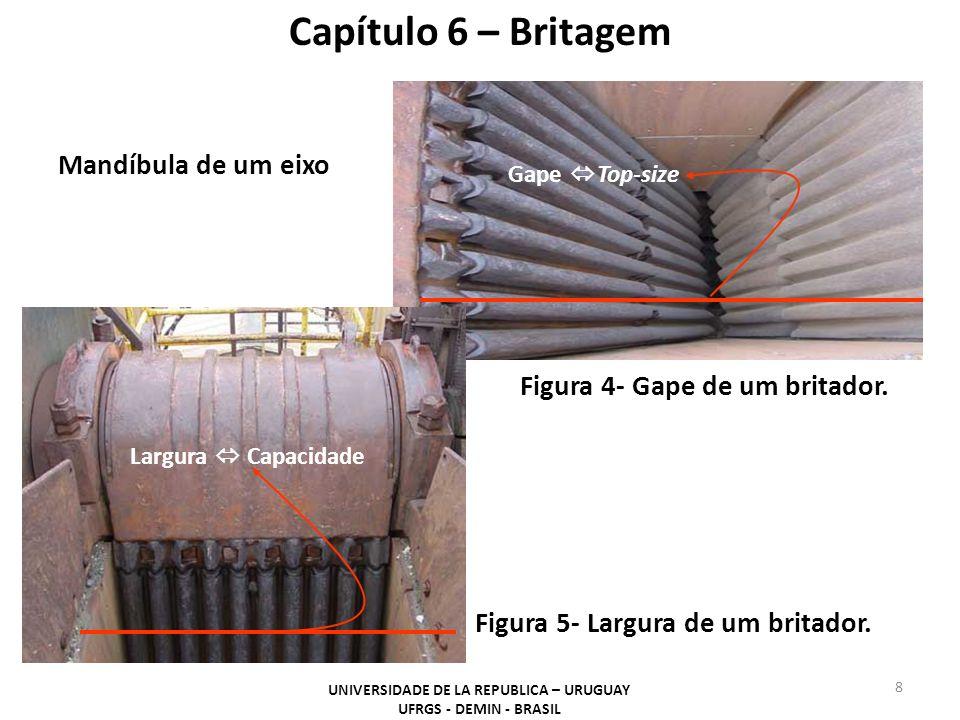 Mandíbula de um eixo Gape Top-size Largura Capacidade Capítulo 6 – Britagem Figura 4- Gape de um britador. Figura 5- Largura de um britador. UNIVERSID