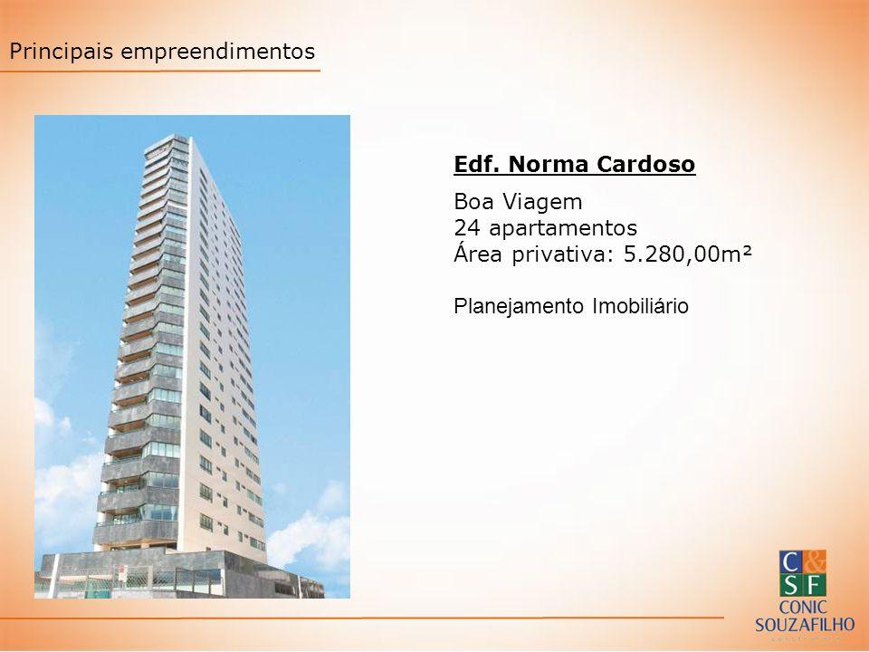 Edf. Norma Cardoso Boa Viagem 24 apartamentos Área privativa: 5.280,00m² Planejamento Imobiliário Principais empreendimentos