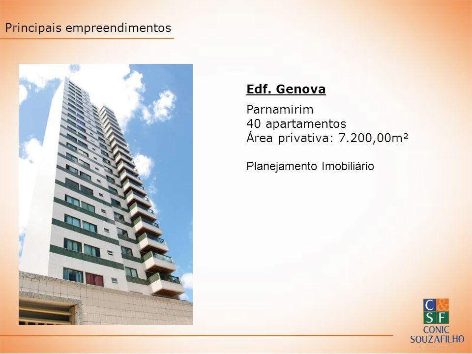 Edf. Genova Parnamirim 40 apartamentos Área privativa: 7.200,00m² Planejamento Imobiliário Principais empreendimentos