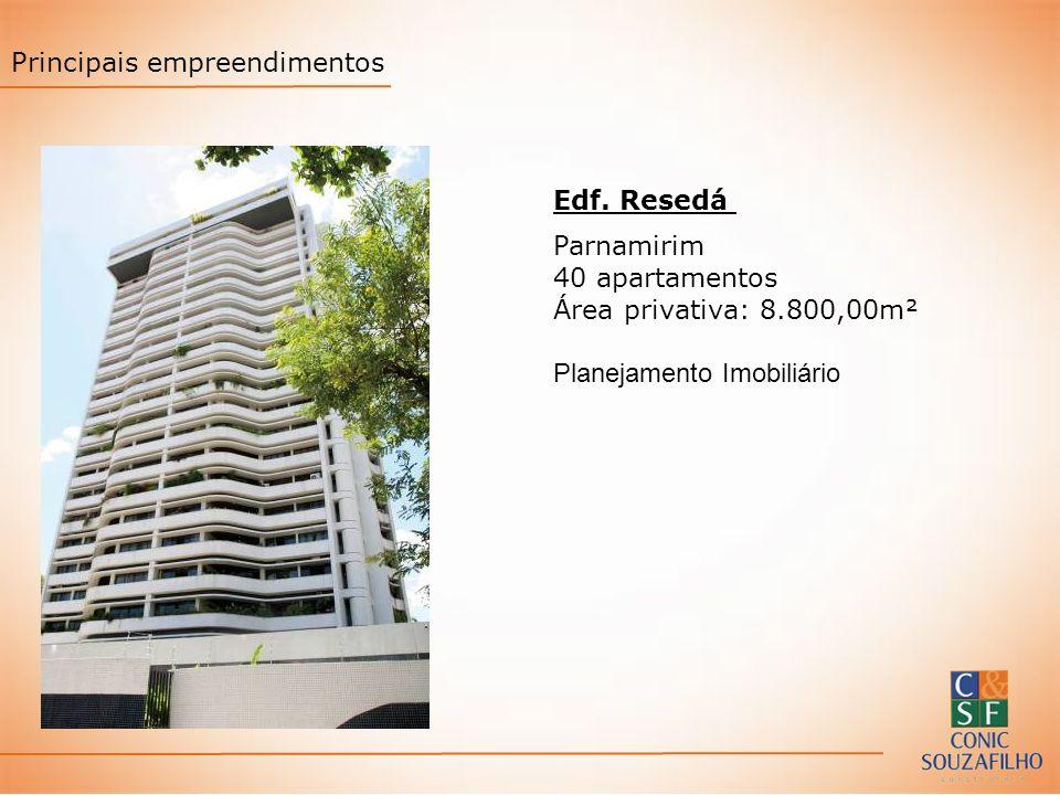 Edf. Resedá Parnamirim 40 apartamentos Área privativa: 8.800,00m² Planejamento Imobiliário Principais empreendimentos