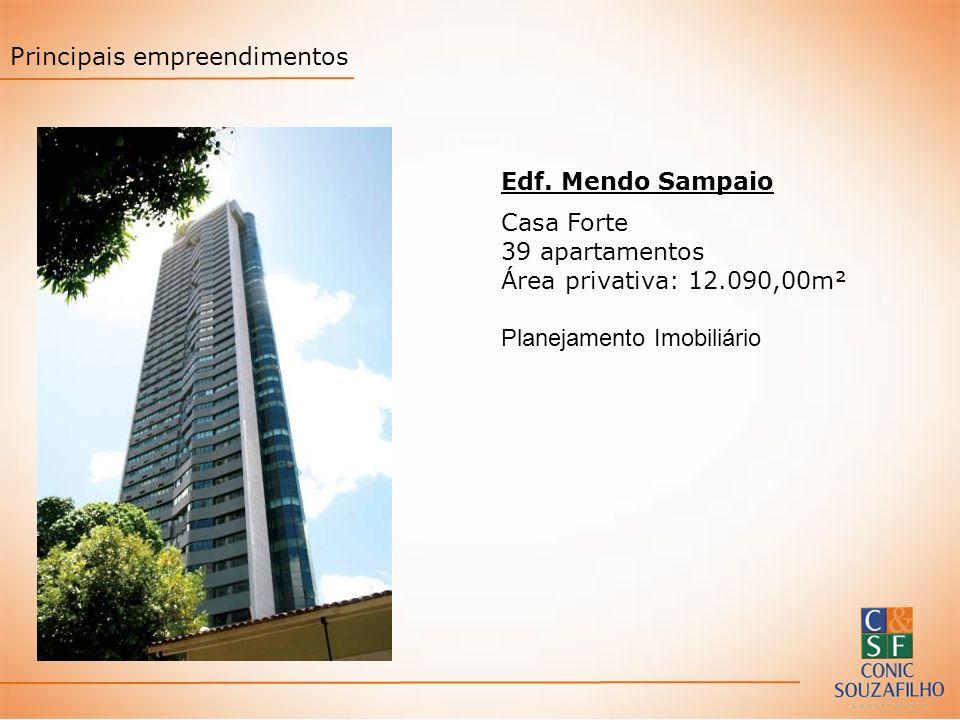 Edf. Mendo Sampaio Casa Forte 39 apartamentos Área privativa: 12.090,00m² Planejamento Imobiliário Principais empreendimentos