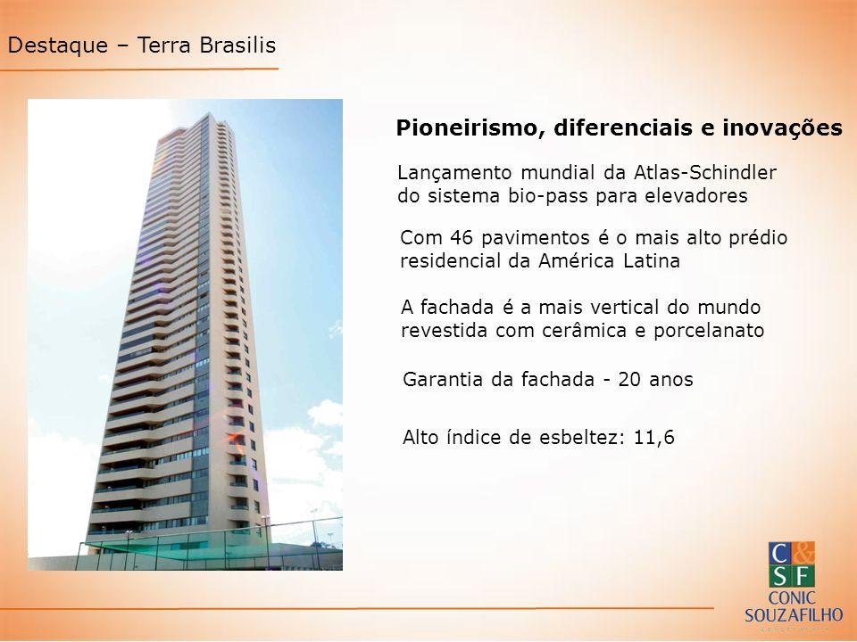 Destaque – Terra Brasilis Pioneirismo, diferenciais e inovações Lançamento mundial da Atlas-Schindler do sistema bio-pass para elevadores Com 46 pavim