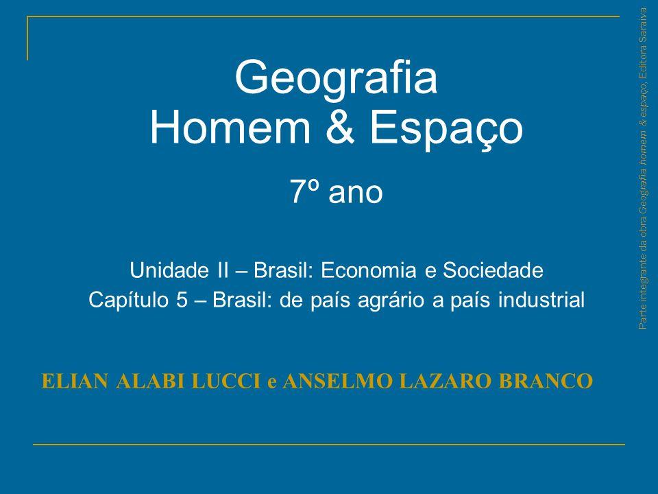 Parte integrante da obra Geografia homem & espaço, Editora Saraiva Conversa Qual a porcentagem de trabalhadores em cada setor da atividade (primário, secundário e terciário) no Brasil.