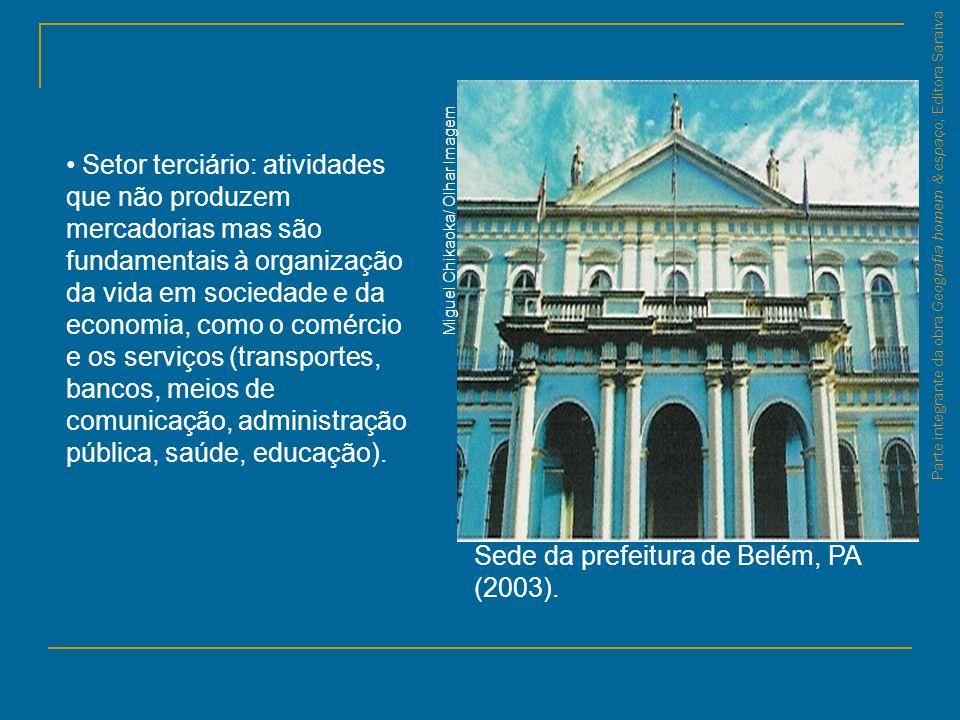 Parte integrante da obra Geografia homem & espaço, Editora Saraiva Sede da prefeitura de Belém, PA (2003). Setor terciário: atividades que não produze
