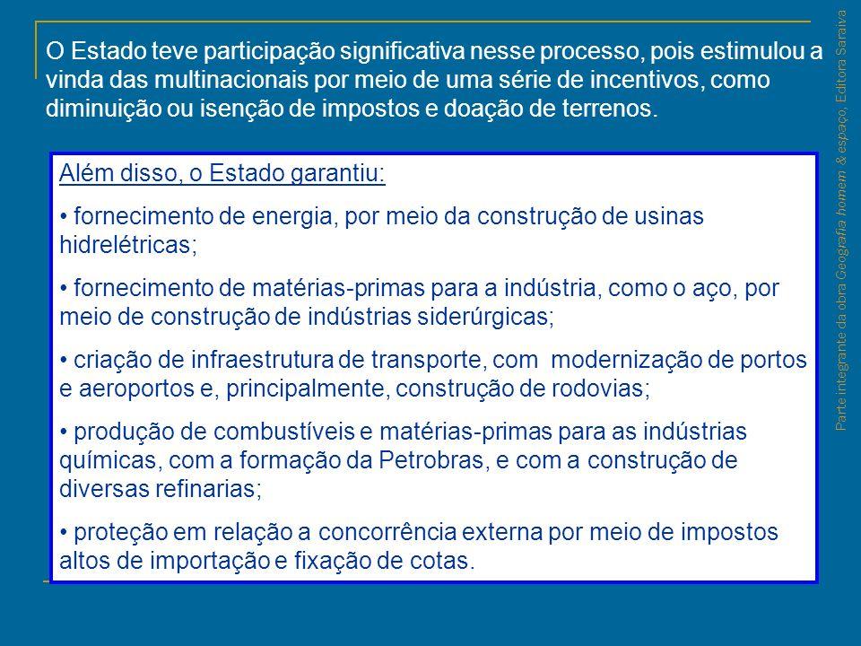 Parte integrante da obra Geografia homem & espaço, Editora Saraiva O Estado teve participação significativa nesse processo, pois estimulou a vinda das