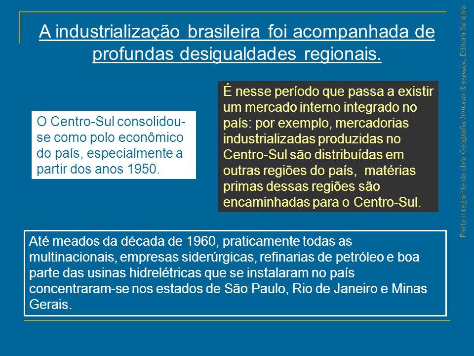 Parte integrante da obra Geografia homem & espaço, Editora Saraiva A industrialização brasileira foi acompanhada de profundas desigualdades regionais.