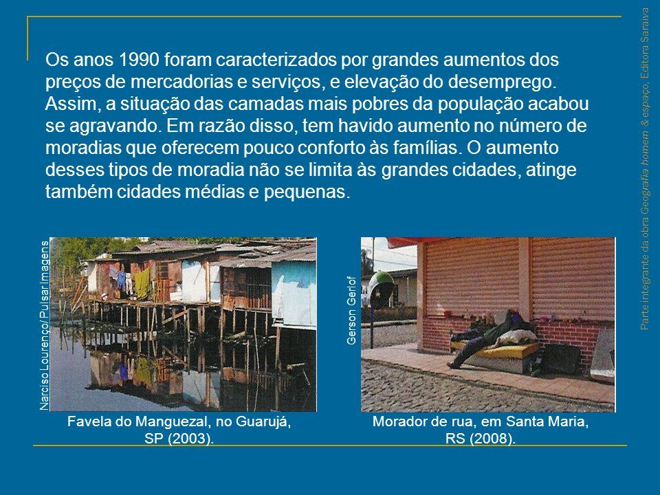 Parte integrante da obra Geografia homem & espaço, Editora Saraiva Favela do Manguezal, no Guarujá, SP (2003). Morador de rua, em Santa Maria, RS (200