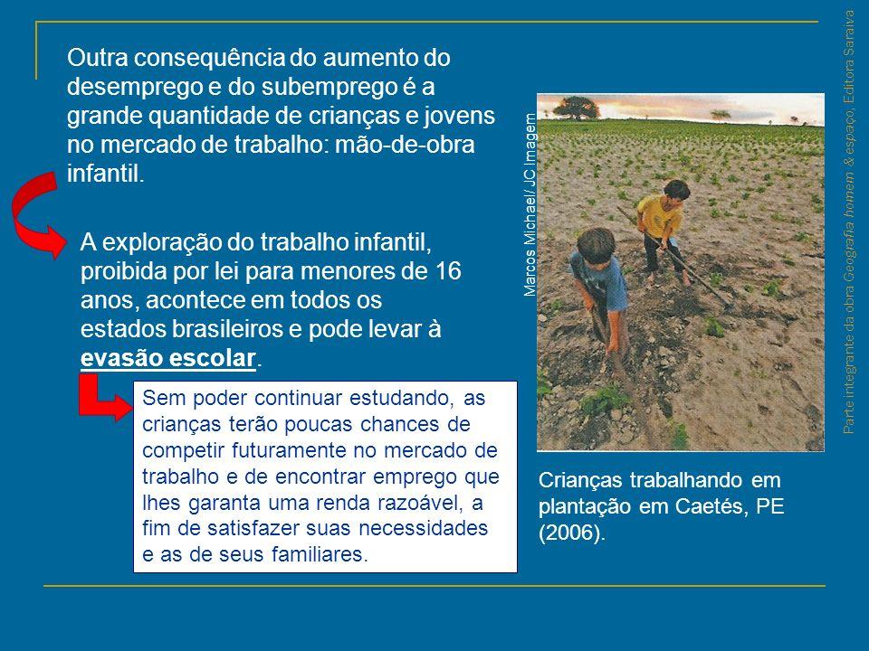 Parte integrante da obra Geografia homem & espaço, Editora Saraiva Marcos Michael/ JC Imagem Crianças trabalhando em plantação em Caetés, PE (2006). O