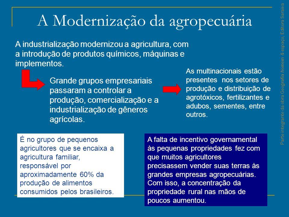 Parte integrante da obra Geografia homem & espaço, Editora Saraiva A Modernização da agropecuária A industrialização modernizou a agricultura, com a i