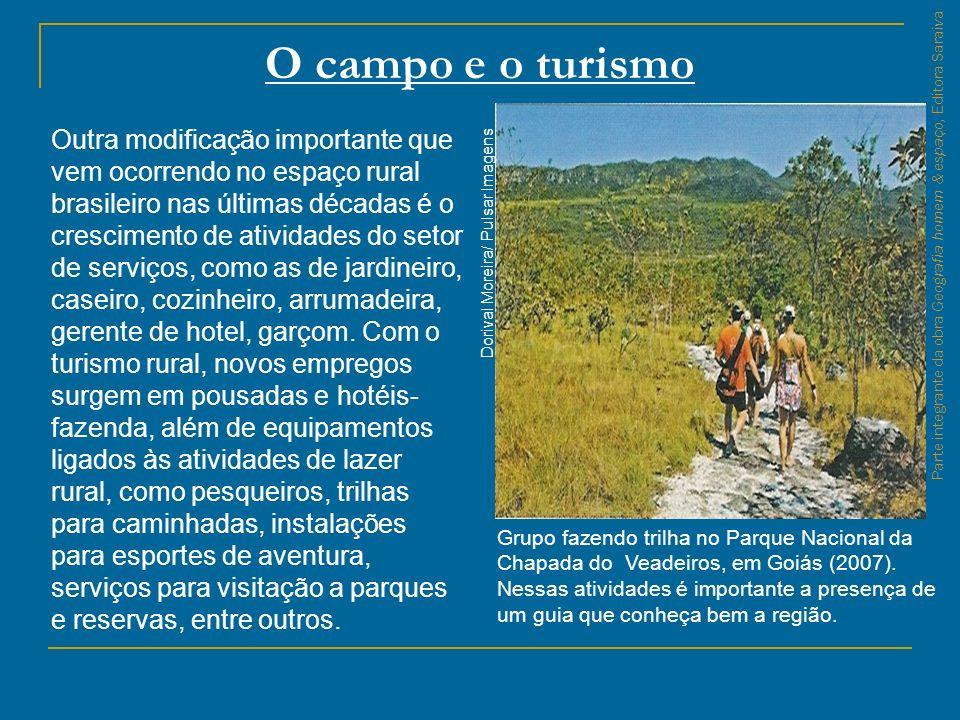 O campo e o turismo Grupo fazendo trilha no Parque Nacional da Chapada do Veadeiros, em Goiás (2007). Nessas atividades é importante a presença de um