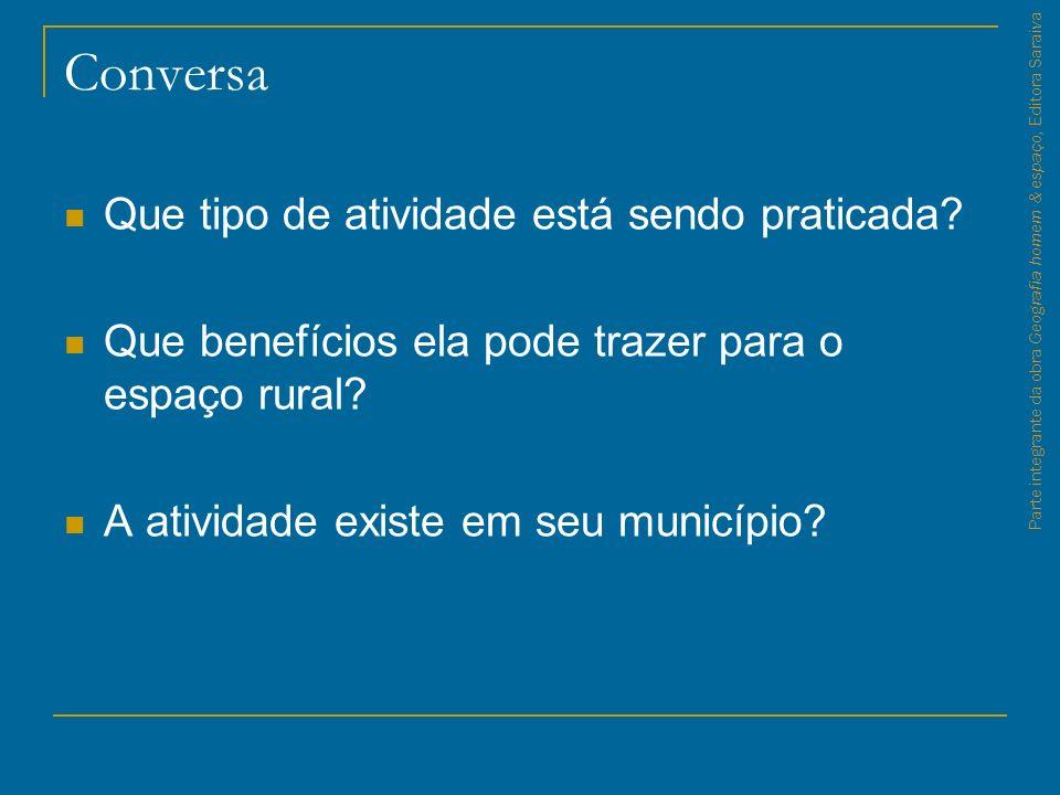 Conversa Que tipo de atividade está sendo praticada? Que benefícios ela pode trazer para o espaço rural? A atividade existe em seu município? Parte in