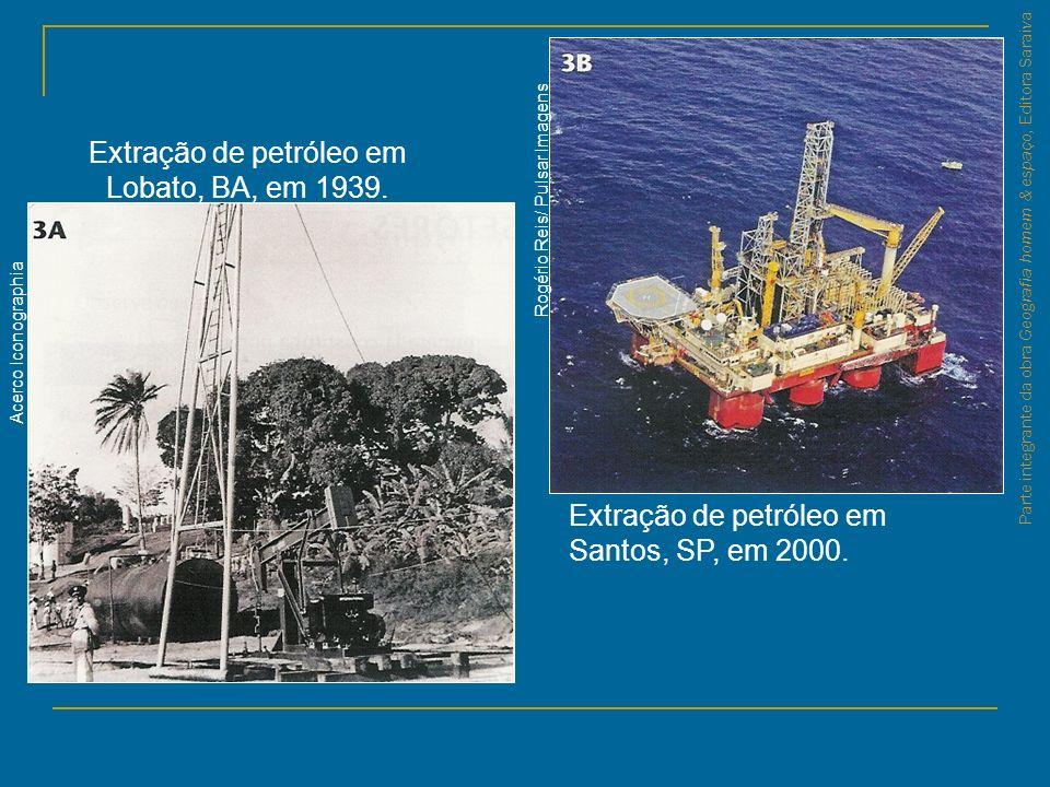 Parte integrante da obra Geografia homem & espaço, Editora Saraiva Extração de petróleo em Santos, SP, em 2000. Extração de petróleo em Lobato, BA, em