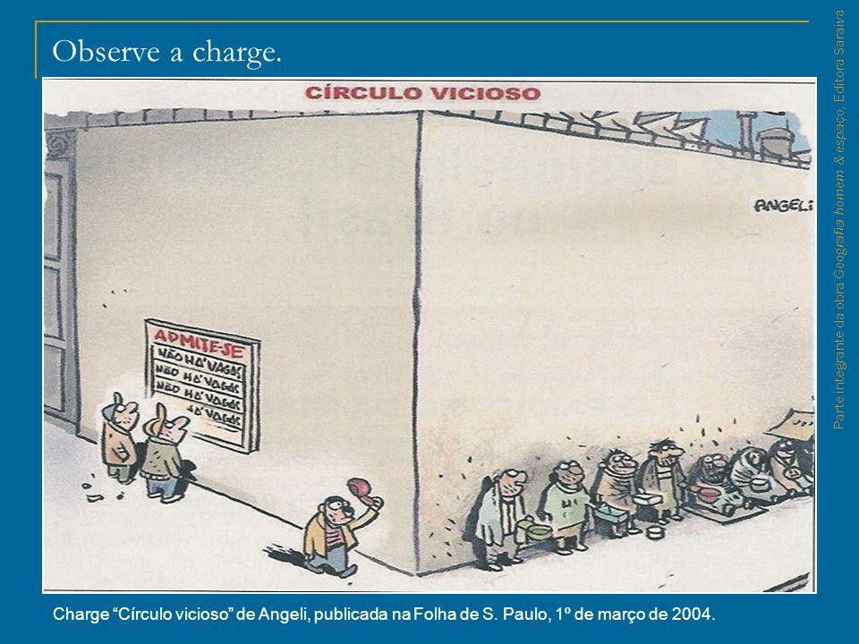 Observe a charge. Charge Círculo vicioso de Angeli, publicada na Folha de S. Paulo, 1º de março de 2004.
