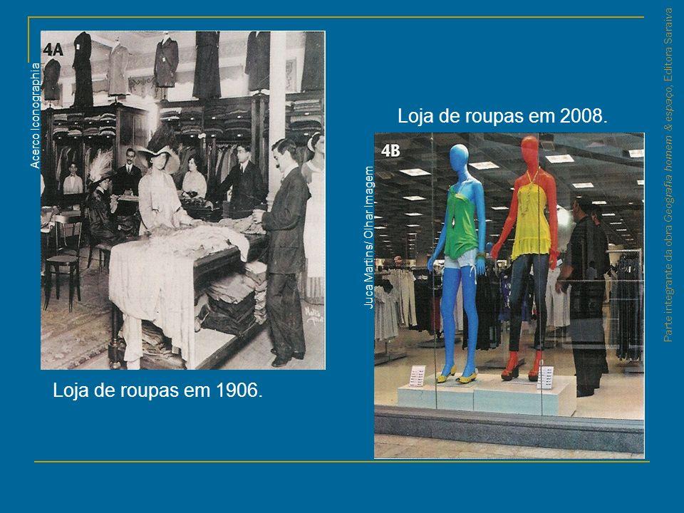 Parte integrante da obra Geografia homem & espaço, Editora Saraiva Acerco Iconographia Juca Martins/ Olhar Imagem Loja de roupas em 1906. Loja de roup