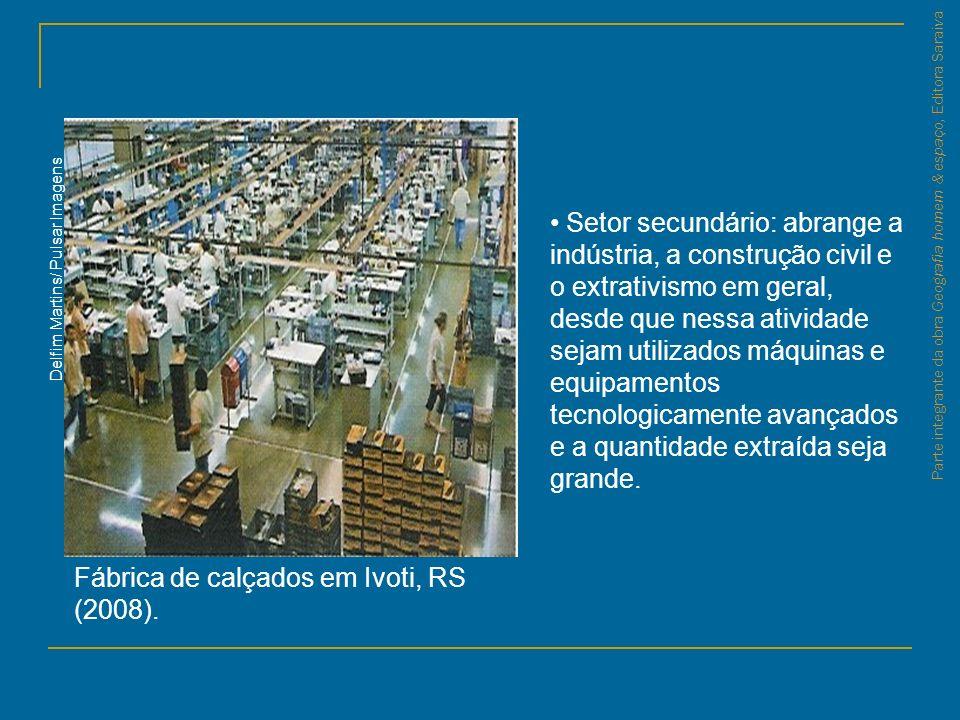 Parte integrante da obra Geografia homem & espaço, Editora Saraiva Fábrica de calçados em Ivoti, RS (2008). Delfim Martins/ Pulsar Imagens Setor secun