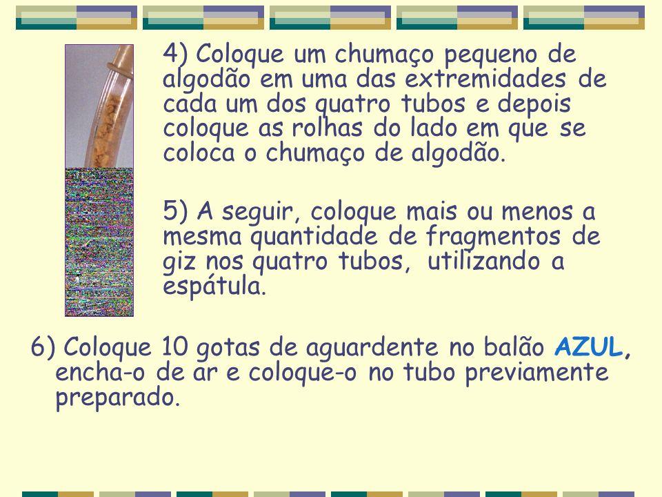 4) Coloque um chumaço pequeno de algodão em uma das extremidades de cada um dos quatro tubos e depois coloque as rolhas do lado em que se coloca o chu