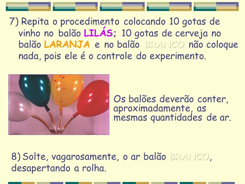 Os balões deverão conter, aproximadamente, as mesmas quantidades de ar.
