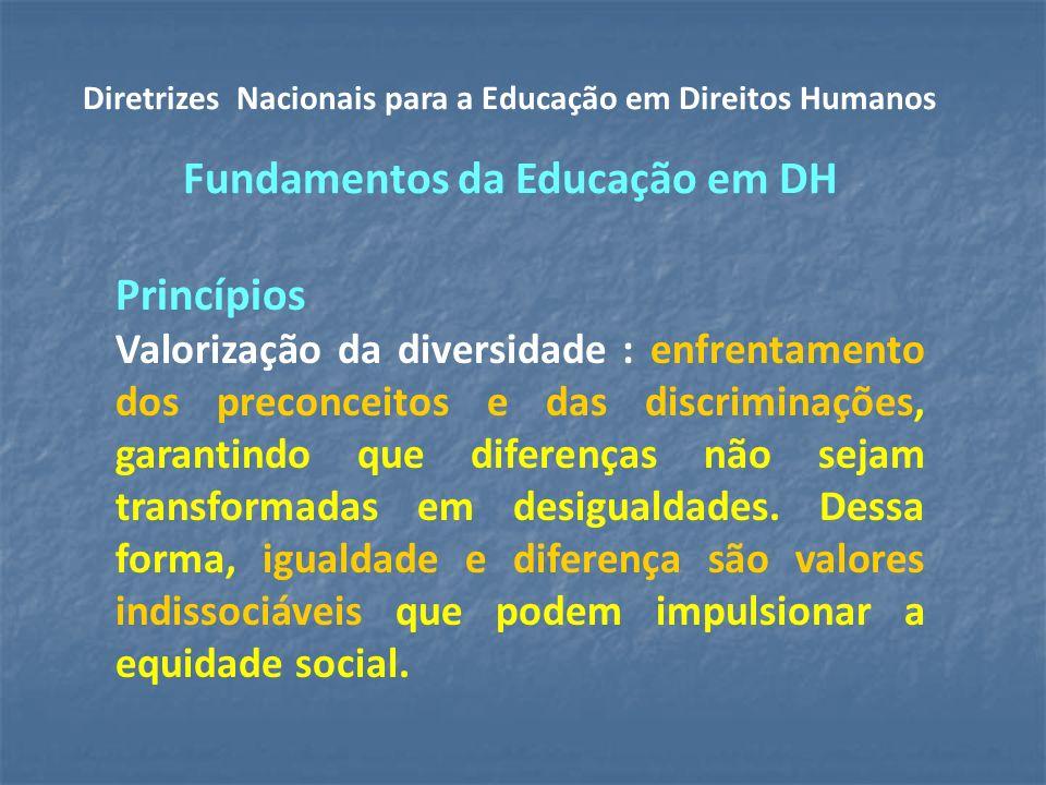 Princípios Valorização da diversidade : enfrentamento dos preconceitos e das discriminações, garantindo que diferenças não sejam transformadas em desigualdades.