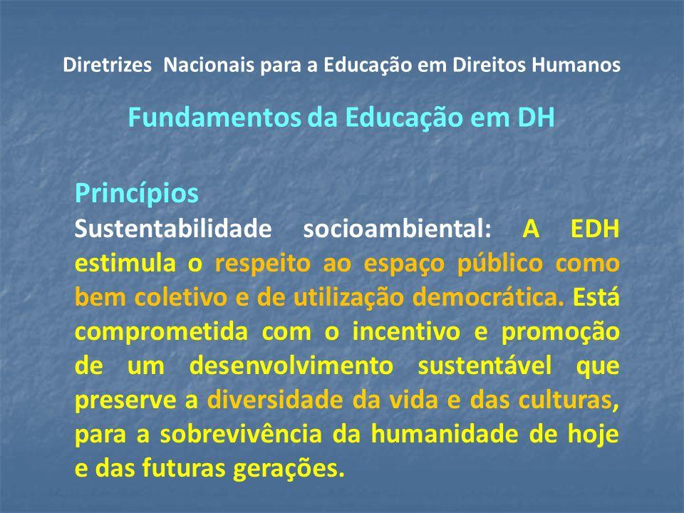 Princípios Sustentabilidade socioambiental: A EDH estimula o respeito ao espaço público como bem coletivo e de utilização democrática.