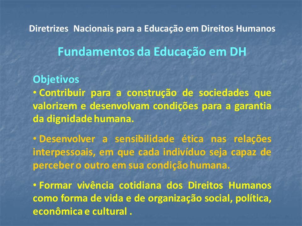 Objetivos Contribuir para a construção de sociedades que valorizem e desenvolvam condições para a garantia da dignidade humana.